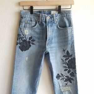 **SOLD** Rag and Bone High Rise Embroidered Jeans